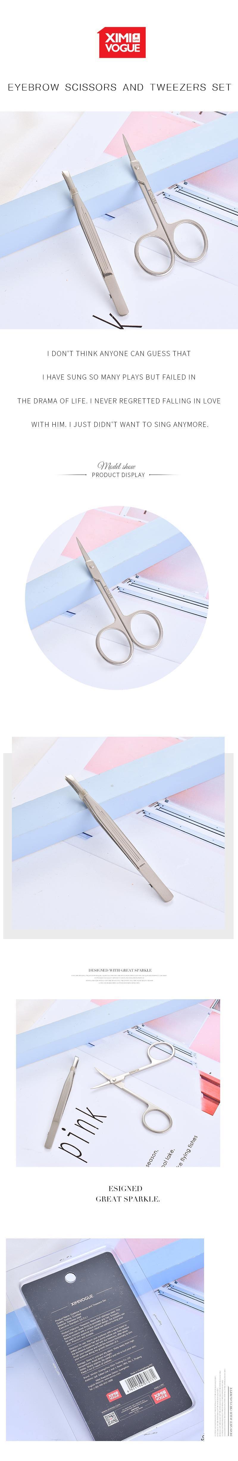 Eyebrow Scissors and Tweezers Set