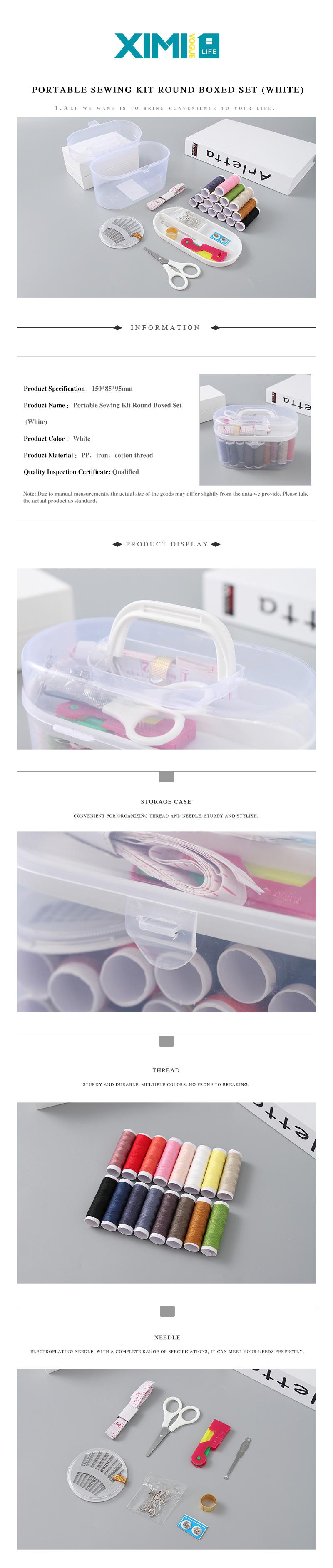 Portable Round Sewing Kit (White)