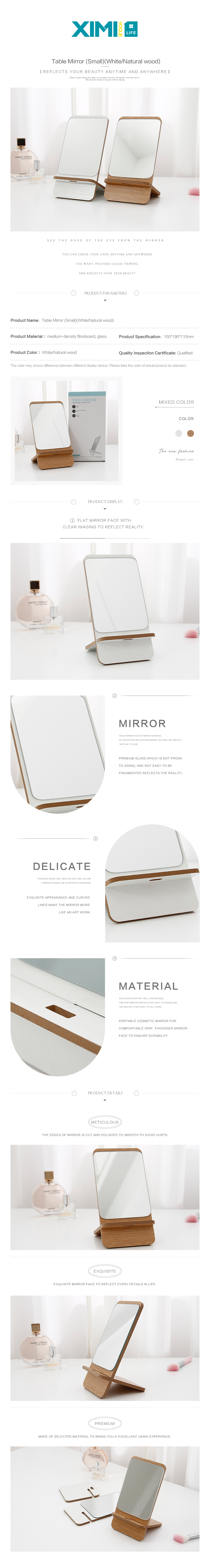Table Mirror (Small)(White/Natural wood)