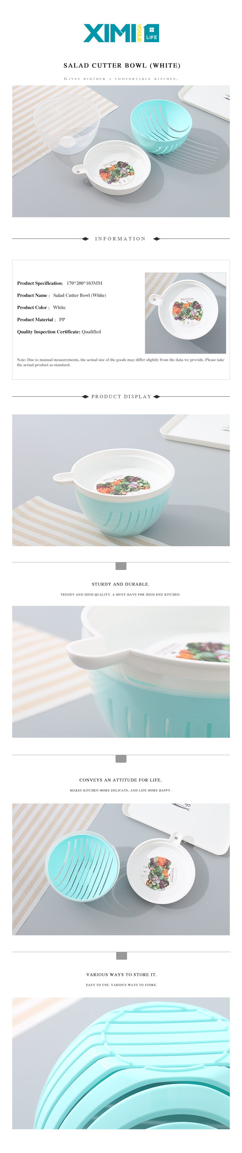 Salad Cutter Bowl (White)