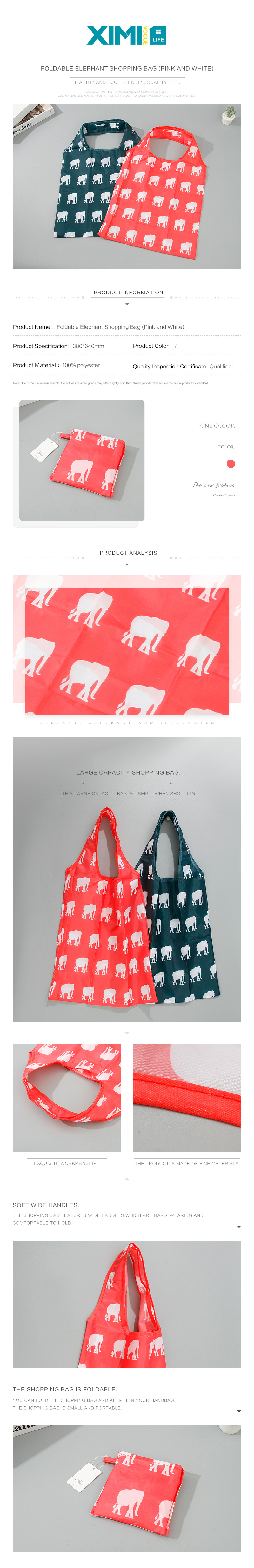Foldable Elephant Shopping Bag (Pink and White)